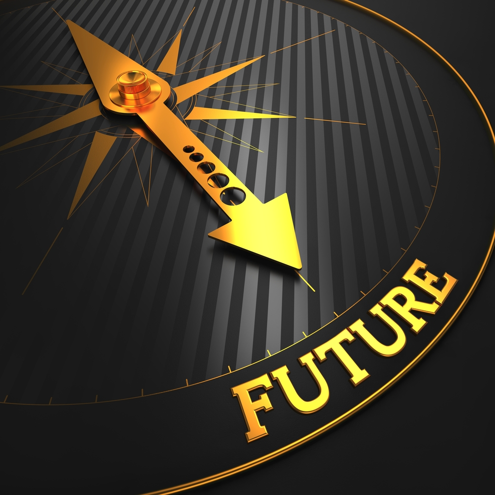 """Future - Business Background. Golden Compass Needle on a Black Field Pointing to the Word """"Future"""". 3D Render."""